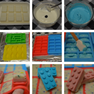 Steps to create LEGO candies using silicone molds