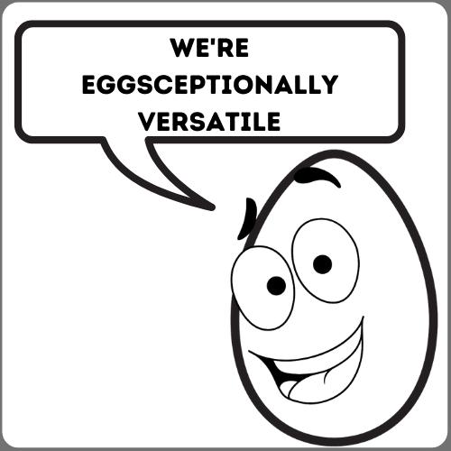 Cartoon Smiling Egg saying We're eggsceptionally versatile