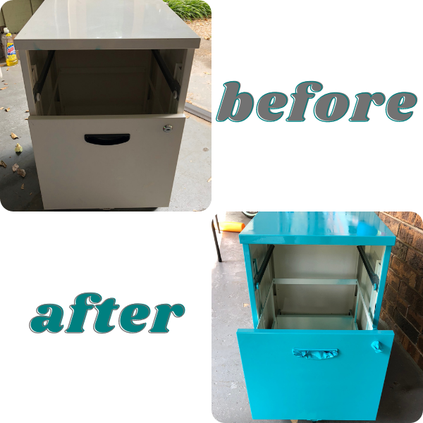grey file cabinet in before photo and teal file cabinet in after photo