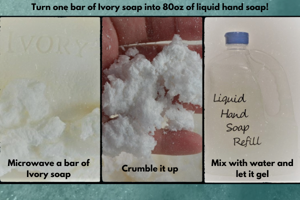 Steps to microwave a bar of ivory soap, crumble it up, and mix it with water to make liquid hand soap