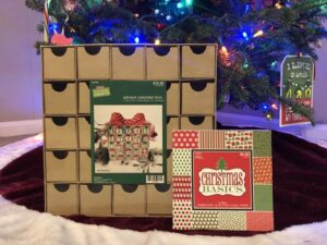 DIY Advent Calendar carboard boxes and scrapbook paper