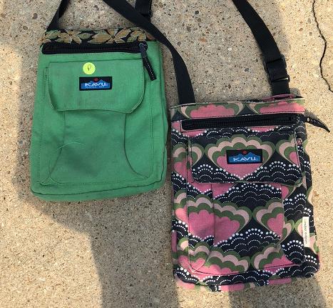 two Kavu purses at a yard sale