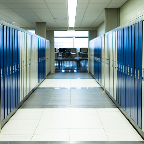 High School hallway lined with lockers