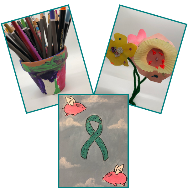 Painted flower pot with colored pencils, paper flowers, teal awareness ribbon painting with flying pigs