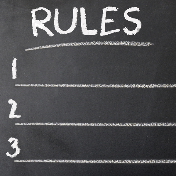 Chalkboard with Rules 1, 2, and 3