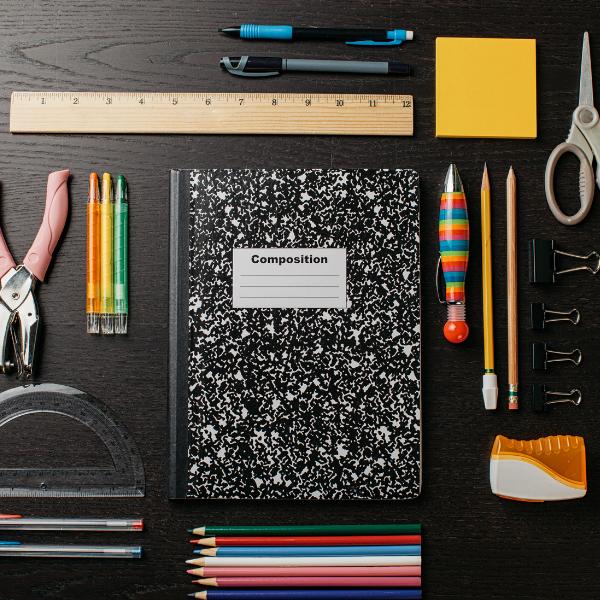 School Supplies notebook, pens, pencils, ruler, etc
