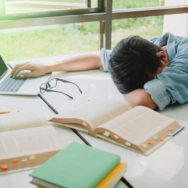 high school student asleep at desk with open books and laptop