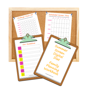 Clipboards and bulletin board with summer screen digital diet family planning workbook pages