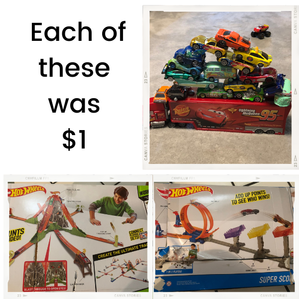 Hot Wheels Sets in the box and Cars each $1 at a yard sale