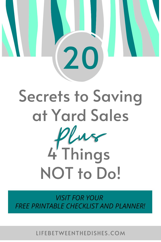 20 Secrets to Saving at Yard Sales