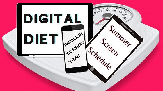 """Computer, tablet, and phone on a scale to show a """"screen diet"""" with pink background"""